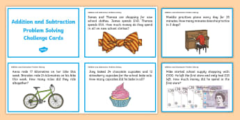 Addition and Subtraction Problem Solving Challenge Cards - add, subtract, calculate, problem, work out, word problem
