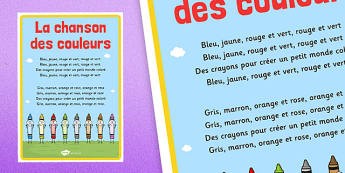 La chanson des couleurs Nursery Rhyme Poster French - french, la chanson, des couleurs, nursery rhyme, poster, display