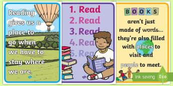 Book Week Reading Quote Display Posters - Australia, EYLF, Foundation, Book Week, Escape to Everywhere, Display, Kindergarten, Pre-Primary, Pr