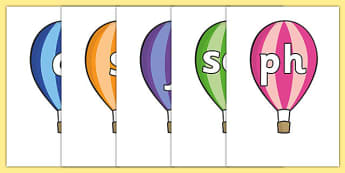 Alphabet and Phase 2-5 Phonemes on Hot Air Balloons (Stripes) - Phonemes, hot air balloon, phoneme, Phases, Foundation, Literacy, Letters and Sounds, Alphabet, A-Z letters, Alphabet flashcards, letters and sounds, DfES, display, balloon, balloons