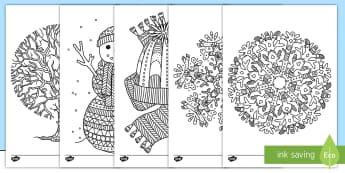 Colorear para relajarse: El invierno - pintar, motricidad fina, colores, dibujos,,Spanish