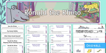 Ronald the Rhino Lesson Teaching Pack - Children's Books,Australia, poetry, rhyme, story, colouring, activities, worksheets, matching, cons