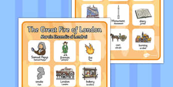 The Great Fire of London Vocabulary Poster Romanian Translation - romanian