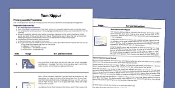 Yom Kippur Assembly Script - yom kippur, assembly, script, school