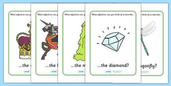 Adjective Description Prompt Posters - adjective, description, prompt, prompts, adjectives, posters, sign, display, describe, describing, KS2, literacy, sentences, structure, type of words, type, words