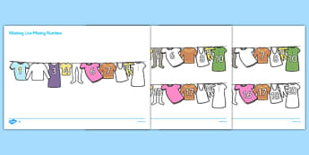 Washing Line Missing Number to 20 Worksheet / Activity Sheets - numbers, maths, Count, numbers to 20, missing number, numeral recognition, counting by 2s, skip counting