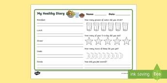 Healthy Living Diary Record Sheet - healthy living, healthy living diary, healthy eating, healthy eating diary, health diary, food and sleep diary, what Ive eaten today
