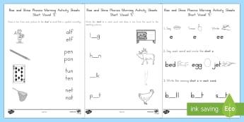 Rise and Shine Phonics Short 'e' Morning Activity Sheets - short vowels, short e, morning work, phonics, worksheets