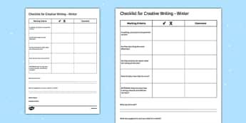Writing Prompts Winter Checklist - KS3, KS4, Writing Prompts, Creative Writing, Winter, English, Snowmen, Snow, Christmas
