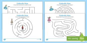 Cinderella Differentiated Maze Worksheet / Activity Sheet Pack - traditional tale, worksheet