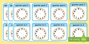Write the Time Quarter Past and Quarter to Flashcards - write the time, half past, cards, write, time, activity, clock, hands, draw