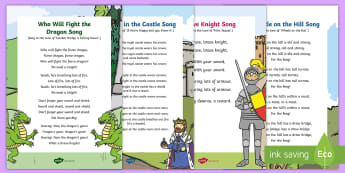 Castles, Knights and Dragons Songs and Rhymes Resource Pack - kings, queens, princesses, princes, royalty, medieval, action songs, singing time, nursery rhymes