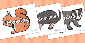 Days of the Week on Woodland Animals - days of the week, weeks, days, woodland animals, animals, themed day of the week, themed days, display animals