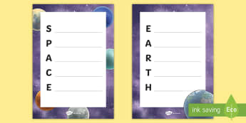 Earth and Space Acrostic Poem - astronomy, astronomy day, planets, moon