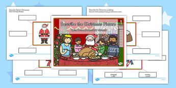 Describe the Picture Christmas Writing Frame Polish Translation - early years, ks1, key stage 1, festive, colouring, speaking and listening, writing, activity,