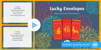 Lucky Envelopes Song PowerPoint - EYFS, Early Years, Key Stage 1, KS1, Chinese New Year, festivals, Spring Festival, dragon dance, red