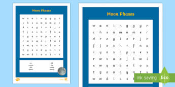 Moon Phases Word Search - phases, moon, new moon, full moon, half moon, lunar month, phases of the moon,