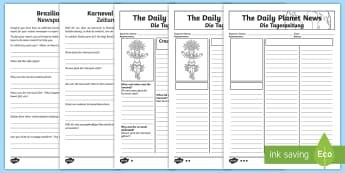 Brazilian Carnival Newspaper Report Writing Activity Sheet English/German - KS2, writing, template, Brazil, Rio de Janeiro, EAL, German, English-German,,worksheet, German-trans