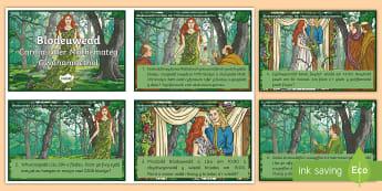 Cardiau Her Mathemateg Chwedl Blodeuwedd - mesur, measure, addition, adio, rhannu, divide, blodau, flowers