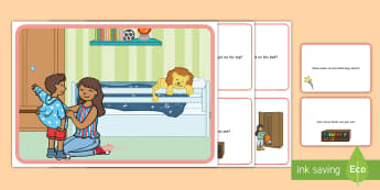 Bedroom Scene and Question Cards - rooms, room, questions, comprehension pack,comprehesion,comprehnsion,comprehention,  comprehenshion