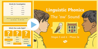 Northern Ireland Linguistic Phonics Stage 5 and 6 Phase 3a, 'ow' Sound PowerPoint