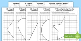 2D Shape Symmetry Drawing Activity English/Polish - maths, symmetry, symmetrical, half, halves, shape, 2D, Polish translation