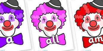 Foundation Stage 2 Keywords on Clown Faces - FS2, CLL, keywords, Communication language and literacy,  Display, Key words, high frequency words, foundation stage literacy, DfES Letters and Sounds, Letters and Sounds, spelling