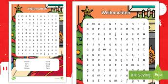Weihnachten Buchstabengitter - Weihnachten, Feiertage, Advent, Dezember, Vokabular, Wörter, Suchsel,,German