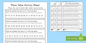 Place Value Worksheet 2 Digits US English/Spanish (Latin) - Place Value Worksheet 2 Digits - place value, worksheet, 2 digits, placevalue, plce value, place vla