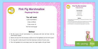 Pink Pig Marshmallow Playdough Recipe