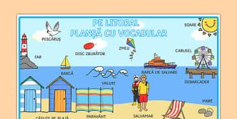 Pe litoral - Planșă cu vocabular - Pe litoral, Planșă cu vocubular - vară, mare, litoral, la mare, vacanță, vocabular, anotimpuri, vară, materiale didactice, română, romana, material, material didactic