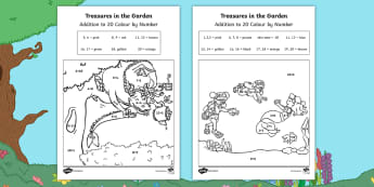 Treasures in the Garden Addition to 20 Colour by Number - twinkl originals, fiction, story, lost, adding, 0-20, numbers