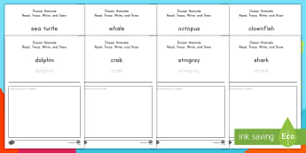 Ocean Animals Read, Trace, Write and Draw Activity Sheets - Ocean, Ocean habitats, Ocean Animals, Ocean Creatures, Sea Life, worksheets, Sea Creatures, Early Wr