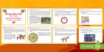 Chinese New Year Display Fact Cards English/Romanian - Chinese New Year, Display, Fact Cards, celebrate, celebrations, EAL