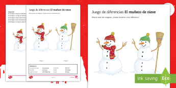 Snowman Spot the Difference Christmas Activity Sheet Spanish - christmas, snow, worksheet, writing, develop, ideas