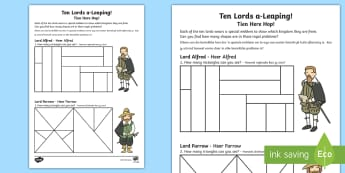 Ten Lords Leaping Worksheet / Activity Sheet English/Afrikaans - people, culture, countries, shapes, maths, wiskunde, EAL