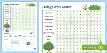 KS4 Ecology Word Search - adaptations, predator, prey, deforestation, conservation