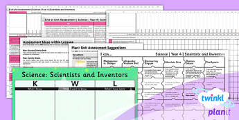 Science: Scientists and Inventors Year 4 Unit Assessment Pack