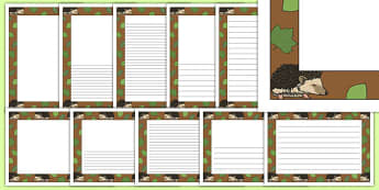 Hedgehog Themed Page Borders - hedgehog, page borders, writing frames, woodland