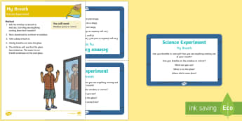 EYFS My Breath Science Experiment and Prompt Card Pack - EYFS Water, water cycle, rain, rivers, sea, oceans, my body, breathing, condensation, breathe,