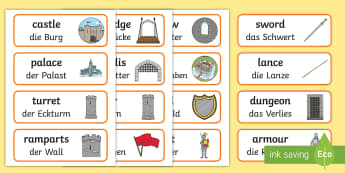Medieval Castle Role-Play Word Cards English/German  - middle ages, knight, vocabulary, EAL, German