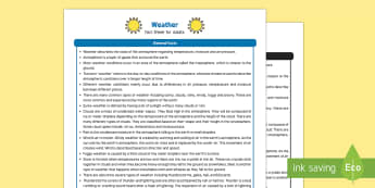 Weather Fact Sheet for Adults - EYFS, Early Years, KS1, seasons, sun, rain, snow