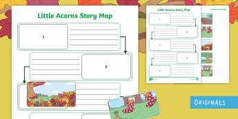 Little Acorns Story Map Activity Sheet - plan, beginning, middle, end, follow, worksheet