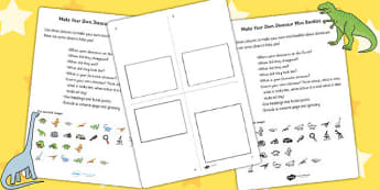Make Your Own Dinosaur Mini Booklet - dinosaurs, design, art and design, art, crafts, make your own dinosaur, booklet, activities, design activities