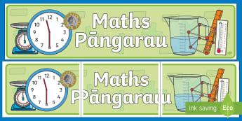 Maths Display Banner - Maths Area, Pāngarau, Te Reo Māori, Ngā Tohu Akomanga, organise, poster, colourful, mathematics,