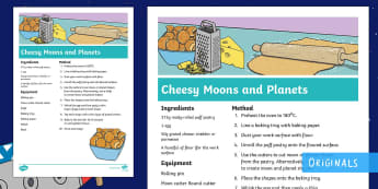 Back to Earth with a Bump Cheesy Moons and Planets Recipe - puff pastry, cheese, cutter, ingredients, space