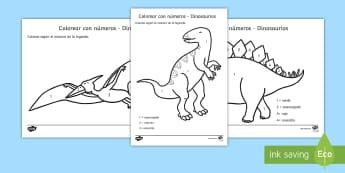 Colorear con números: Dinosaurios Spanish (Latin) - Dinosaurios Colorear por número. color numero, dinosauiro, dinosario, actividad para colorear, dino