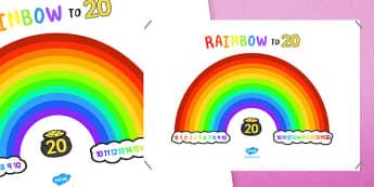 Rainbow To Twenty Display Poster - number, bonds, 20, addition, pairs, add, adding, number bonds