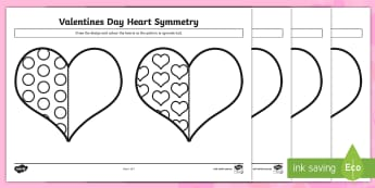 Valentine's Day Heart Symmetry Activity Sheets - valentines day, symmetry