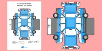 Transport Paper Model Car English/Italian - model, paper, car, transport, craft, EAL